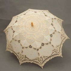 $22.49 Handmade Parasol Ivory Scallop Edge Embroidery Pure Cotton Lace Wedding Umbrella in Beige