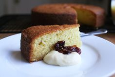 Buttermilk cake with sour milk jam and gin-poached cherries