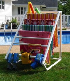 Awesome idea for vacation at the lake so they are not hanging over the chairs, picnic table, or in the single bathroom used by many!
