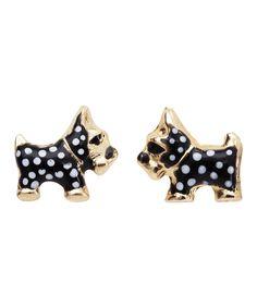Black & White Polka Dot Terrier Earrings