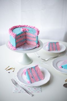 Blue and pink cake