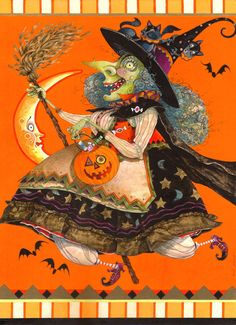 halloween witches, witch moon, fli high, hallow eve, whimsic witch, witch art, david galchutt