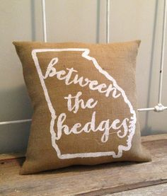 Burlap Pillow Between the Hedges UGA football by TwoPeachesDesign on Etsy, $29.00 #UGA