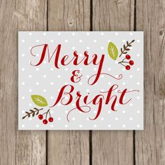 Merry and Bright - Christmas Decor - Printable Art - Holiday Decoration in Grey