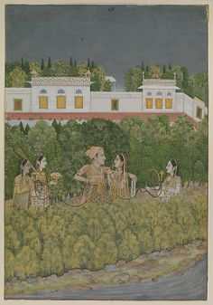 Nidha Mal. Prince and Ladies in a Garden, mid-18th century. The Metropolitan Museum of Art, New York. Cynthia Hazen Polsky and Leon B. Polsky Fund, 2001 (2001.302) | Here, a prince and his consort smoke a huqqa, attended by ladies in the pleasant surroundings of a walled palace garden. #spring