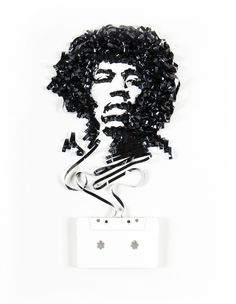 "Absolutely brilliant series called Ghost in the Machine by Erika Iris. In it, she creates images of artists, like this one of Jimmy Hendrix, using recycled cassette tapes and original cassettes. ""Also included are portraits made from old film and reels. The idea comes from a phrase (ironically) coined by philosopher Gilbert Ryle, a description of how your spirit lives in your body. I imagine we are all, like cassettes, thoughts wrapped up in awkward packaging."" -Erika"