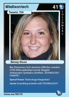 Elementary Tech Assistant, DEN Star, member of NC DEN Leadership Council, Glogster Ambassador, Symbaloo Certified...TECHNOLOGY FANATIC!