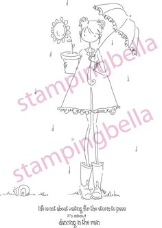 Uptown Girl Lolly and Her Brolly Stamping Bella Unmounted Rubber Stamp EB119