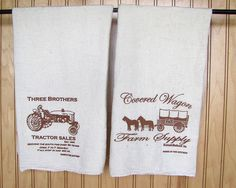 Natural Flour Sack Towels with Tractor/Covered Wagon prints