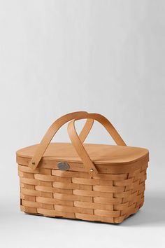 """Bike Picnic BaskeWoven from strong Appalachian White Ash. Durable brass hardware Rides in the included bike attachment 14 1/4""""Wx9""""Dx6 3/4""""H (Some assembly required)"""