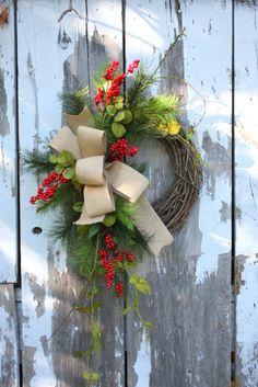 Christmas Wreath, Red Berries, Pine, Burlap, Grapevine Wreath.