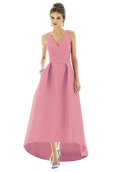 Alfred Sung pale pink bridesmaid dress with asymmetrical skirt as seen on Brides.com