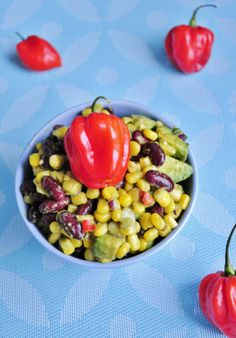 Spicy Habanero Corn Salsa with Avocado! Eat with chips or as a salad. #vegan #recipe