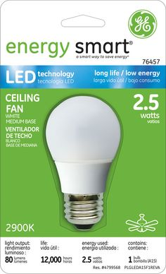GE Energy Smart 10W Replacement (2.5W) A15 LED Bulb (Warm, White) $19.95