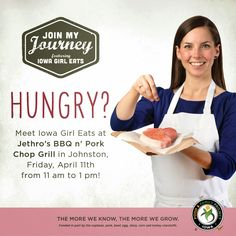 """Iowa Food & Family Project """"Join my Journey"""" Meet Iowa Girl Eats at Jethro's in Johnston Friday, April 11th"""