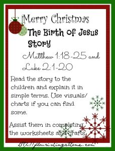 Pre school printable christmas activity sheets for teaching the quot birth
