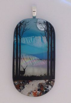 Sunset Pendant Cremation Jewelry with Pet or Loved Ones ashes forming the walkway by addicted2glassfusion
