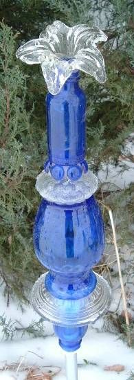 Blue and Clear Glass Totem