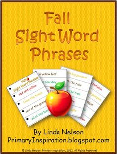 FREE set of autumn sight word phrase cards. Improving your students' fluency (rate, phrasing, and expression) will improve their comprehension! - repinned by @PediaStaff – Please Visit  ht.ly/63sNt for all our ped therapy, school & special ed pins