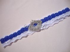 Lace #garter White/Royal #blue Stretch lace with by GarterMart on Etsy #weddings #brides