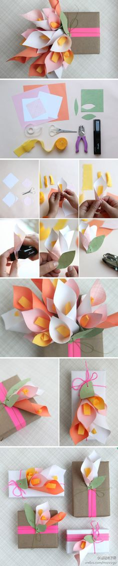 Paper flowers to embellish your wrapping