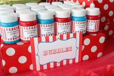 Blue and red bubbles to look like carnival favors!