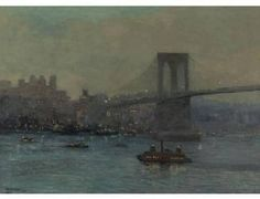 Near night time in the 1880's near the recently completed Brooklyn Bridge.
