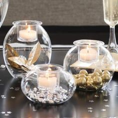 Clearly Creative™ Eclectic Votive Trio by PartyLite® Candles. wedding, centerpiece, gold, clear, glass, silver, stars, birthday, diy, decor