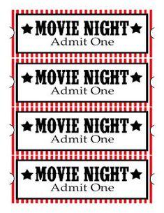 movie night free printable lables