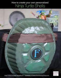 diy turtl, mutant ninja, shell idea, turtl parti, tmnt shell, ninja turtles, ninja turtle party, ninja turtle birthday, turtl shell