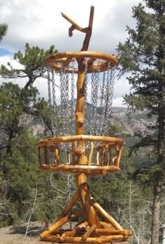 crafted disc golf basket