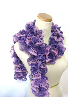 Purple and Pink Hand Knit Ruffled Scarf by ArlenesBoutique on Etsy,