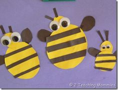 Bee Crafts (several) paper bee, summer crafts, school crafts, letter, apples, insect, family crafts, preschool, construction paper crafts