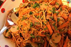 Cheesecake Factory Thai Chicken Pasta - I just made this and it's so yummy!!  I added extra carrots and also peas and mushrooms.  I also only used 3/4 cup of peanut butter, 1 cup of water and an entire pound of whole-grain pasta.  I used Shrimp instead of Chicken and topped it with the cilantro and bean sprouts.  YUMMMMM!!!!