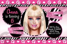 Barbie themed birthday invites
