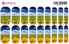 Contact me for this design or help to create your own individualized Jamberry nail wraps! http://BlissNails.jamberrynails.net/NAS #Jamberry #NAS #NailArtStudio #wraps #nails #wedding #bridesmaids #sunflower