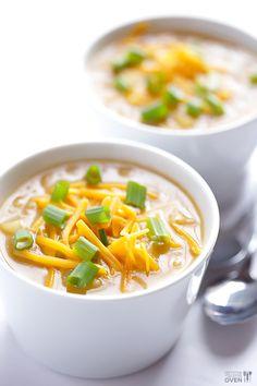 "So easy to make! // ""5 Ingredient Potato Soup Recipe"" | @Ali Velez Ebright (Gimme Some Oven) #easy #soup #recipe"