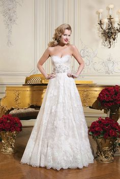 Justin Alexander 2015 - Juno. Chantilly lace ball gown emphasized with a sweetheart neckline