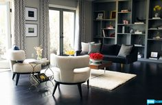Jeff Lewis transformed Jillian Barberie Reynolds' gothic den into this streamlined living space on Interior Therapy.