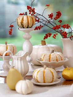 Love this fresh fall look using a white eclectic collection of dishes.