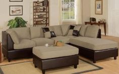 3pcs Sectional Sofa Set with Ottoman in Pebble Finish