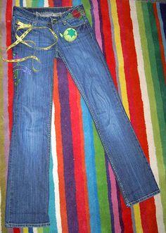 Hem jeans and keep original hem.