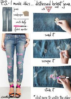DIY Jeans craft ideas easy crafts diy ideas diy clothes easy diy diy fashion craft clothes craft. diy crafts diy pants craft pants