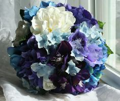 Hydrangea Bouquet with Gardenias -  Custom Made to Order - Wedding Bouquet and Boutonniere Set - Bridesmaids Bouquets. $79.99, via Etsy.