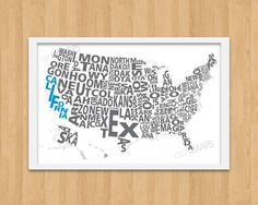 Typography Map of the United States.