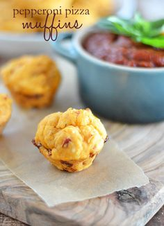 Pepperoni Pizza Muffins ~ Made with canned tomato sup & Bisquick.