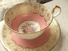 Antique English tea cup, vintage Aynsley Bailey signed bone china tea set, pink  and gold fleur de lis tea cup and saucer via Etsy
