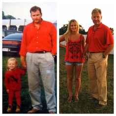 A daughter/father pic before 1st day of preschool and again before 1st day of college.