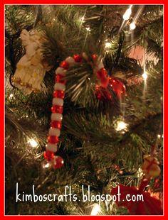 Easy Christmas craft for kids to make using beads.