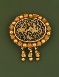 Brooch, 19th century  India  Gold, enamel